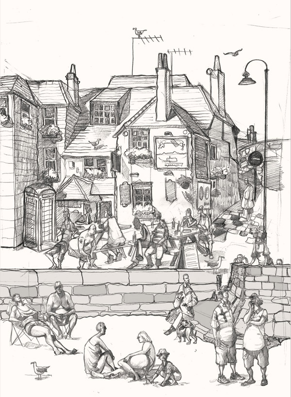 A drawing of the Sloop Inn, St Ives, Cornwall