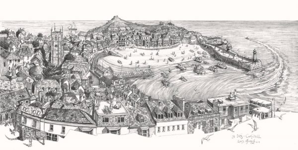 final drawing of St Ives Cornwall