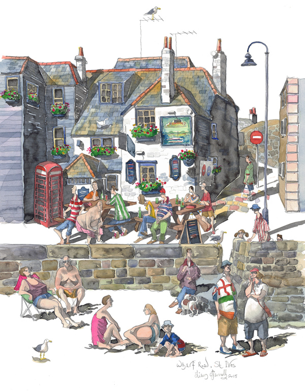 A painting of the Sloop Inn, St Ives, Cornwall