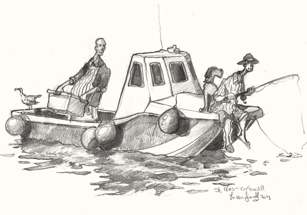 A drawing of fishermen