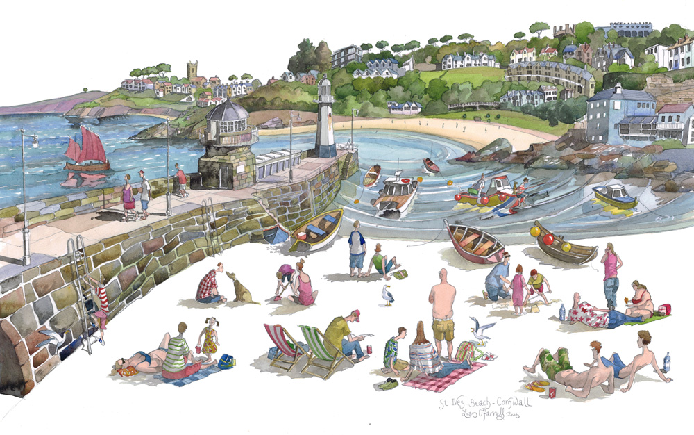 st ives beach painting