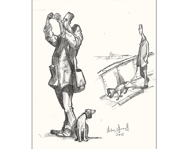 A drawing of men with dogs