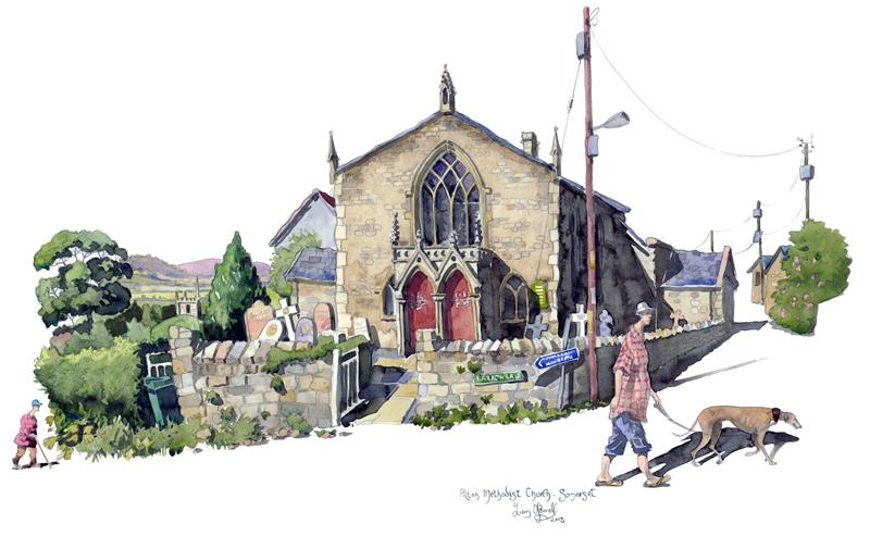 A painting of Pilton Methodist church