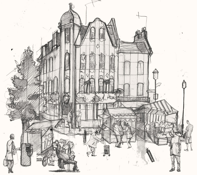 A drawing of a pub in Soho