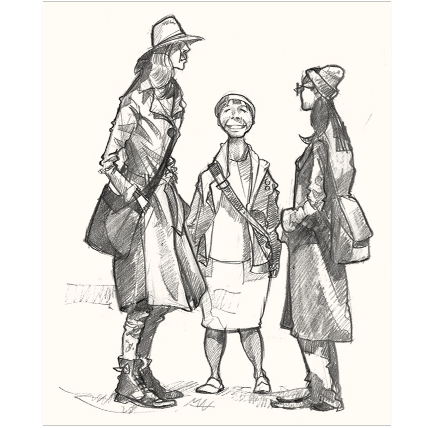 drawing of shoppers in London