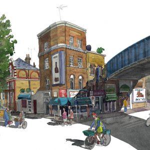 Painting of A bridge in waterloo london