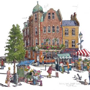 A painting of Berwick Street Market, Soho, London