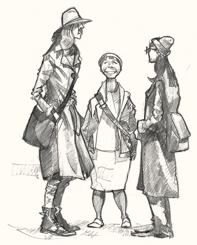 a drawing of shopers in Broadway market