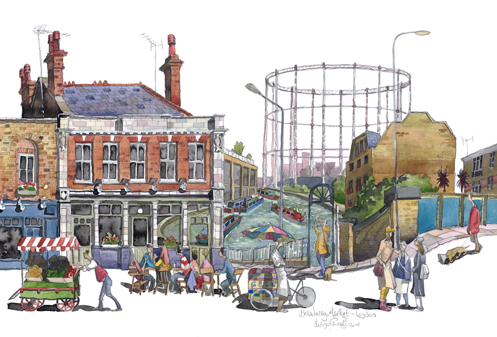 A painting of Broadway market, London