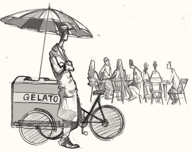 drawing of a ice cream seller in Broadway market London