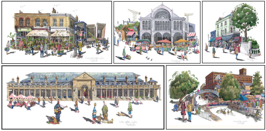 paintings of London markets