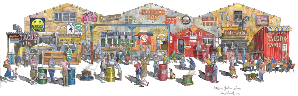 painting of Street Feast Hackney, London