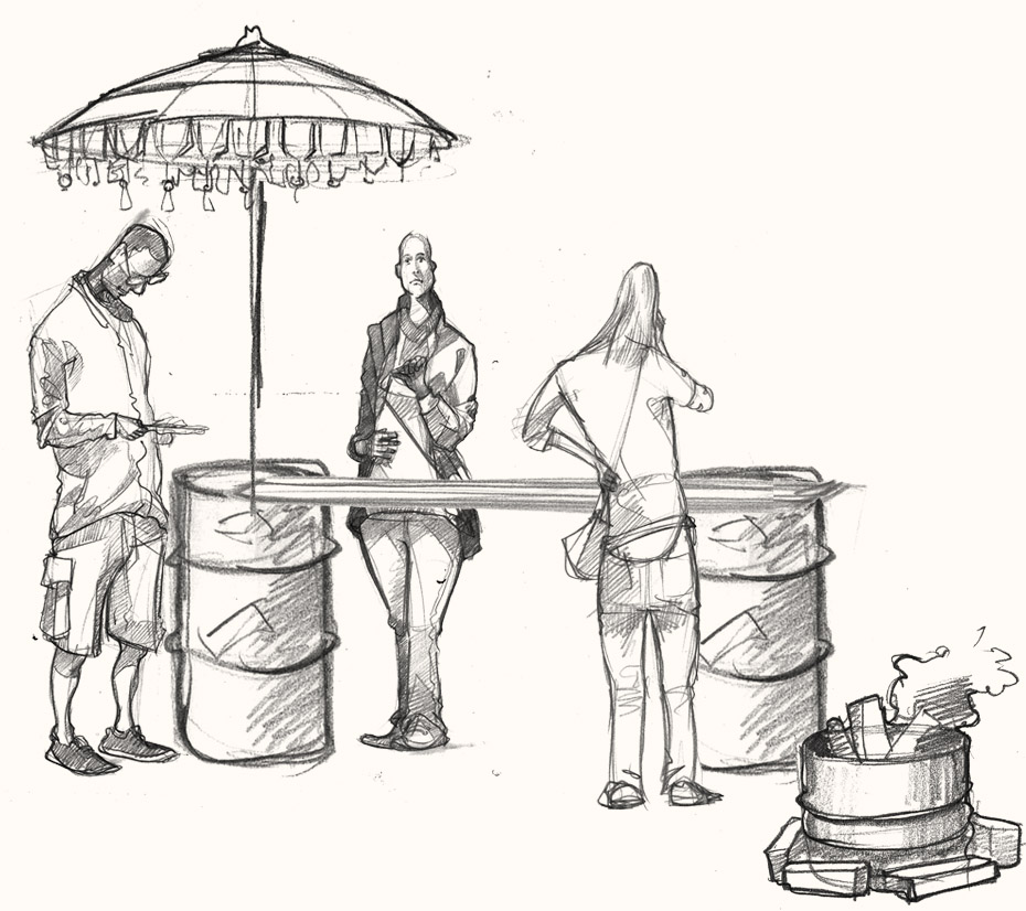 A drawing of people partying in Hackney, London