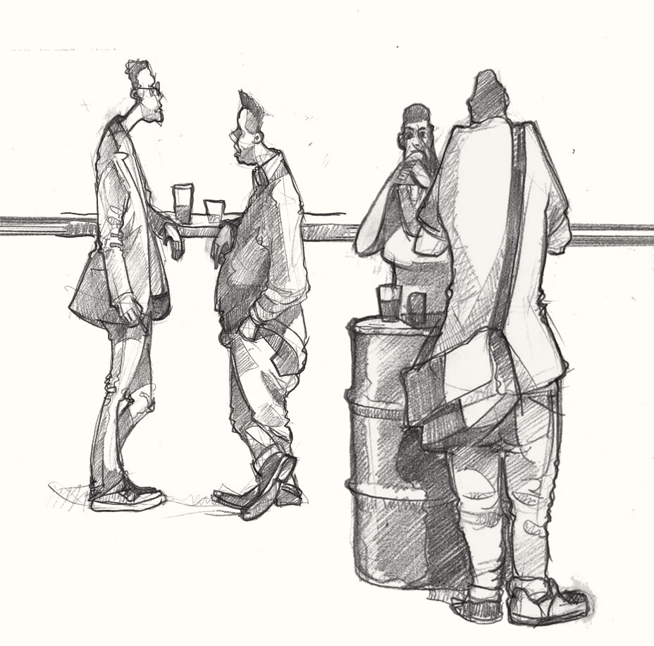 A drawing of people eating in Hackney, London