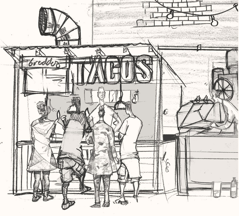 Drawing of a Taco bar in Hackney, London