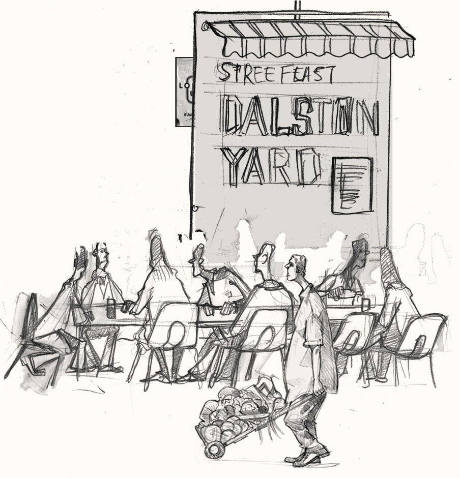 A drawing of people drinking in Hackney, London
