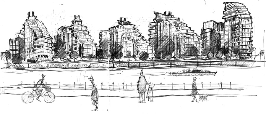 Battersea Reach drawing sketch blog