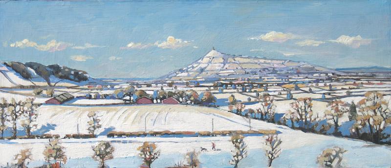 glastonbury painting in the snow