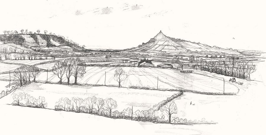 Glastonbury view drawing