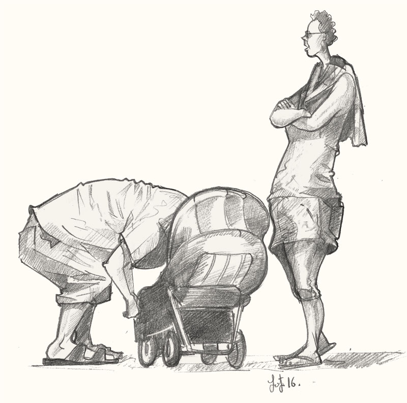 Drawing of people in Sutton on Sea