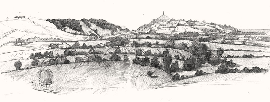 View to glastonbury drawing2