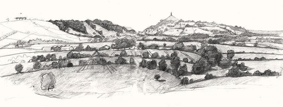 View to glastonbury drawing2