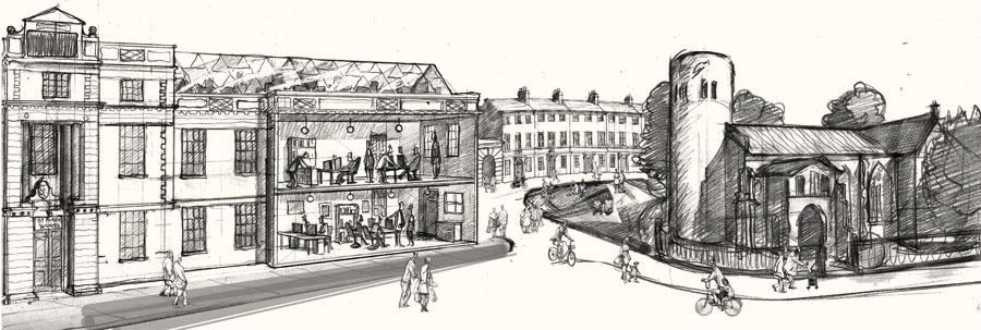 Drawing of st marys works Norwich