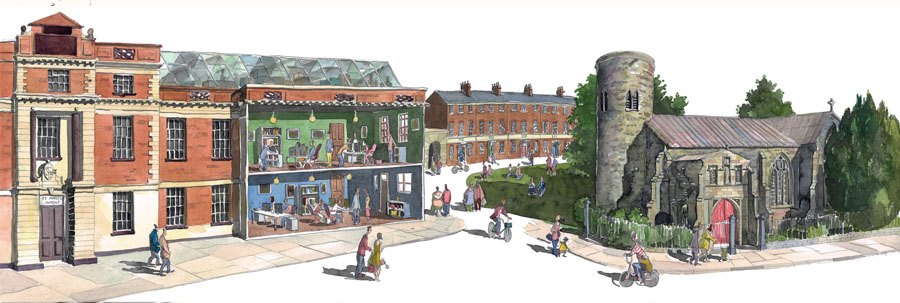 Painting of st marys works Norwich
