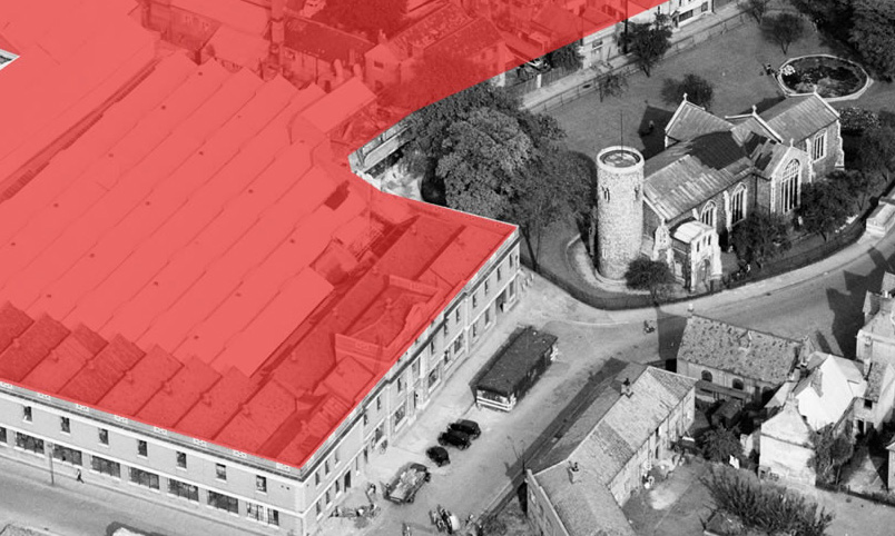 arial view of St Mary's Works Norwich