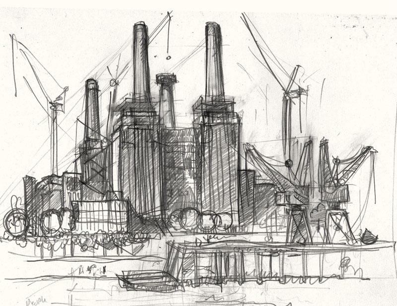 battersea power station drawing rough
