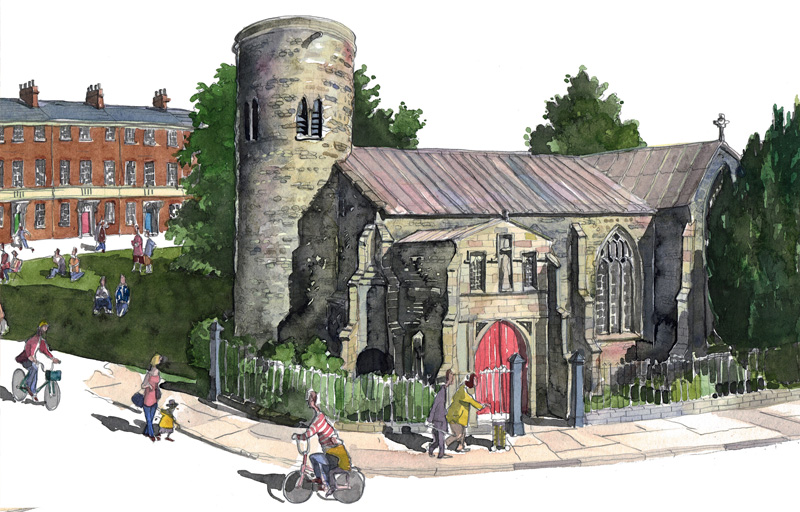 detail of st marys church Norwich