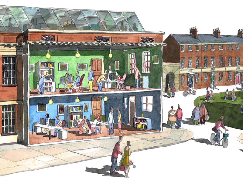 detail of st marys works Norwich