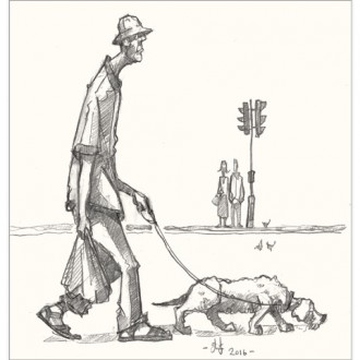 man and dog drawing for blog
