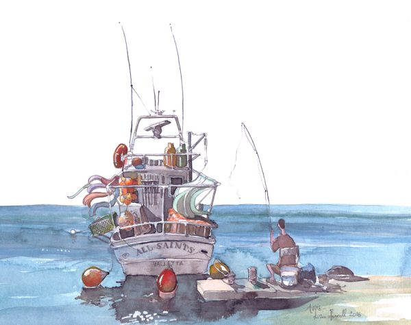 A boat in Malta painting