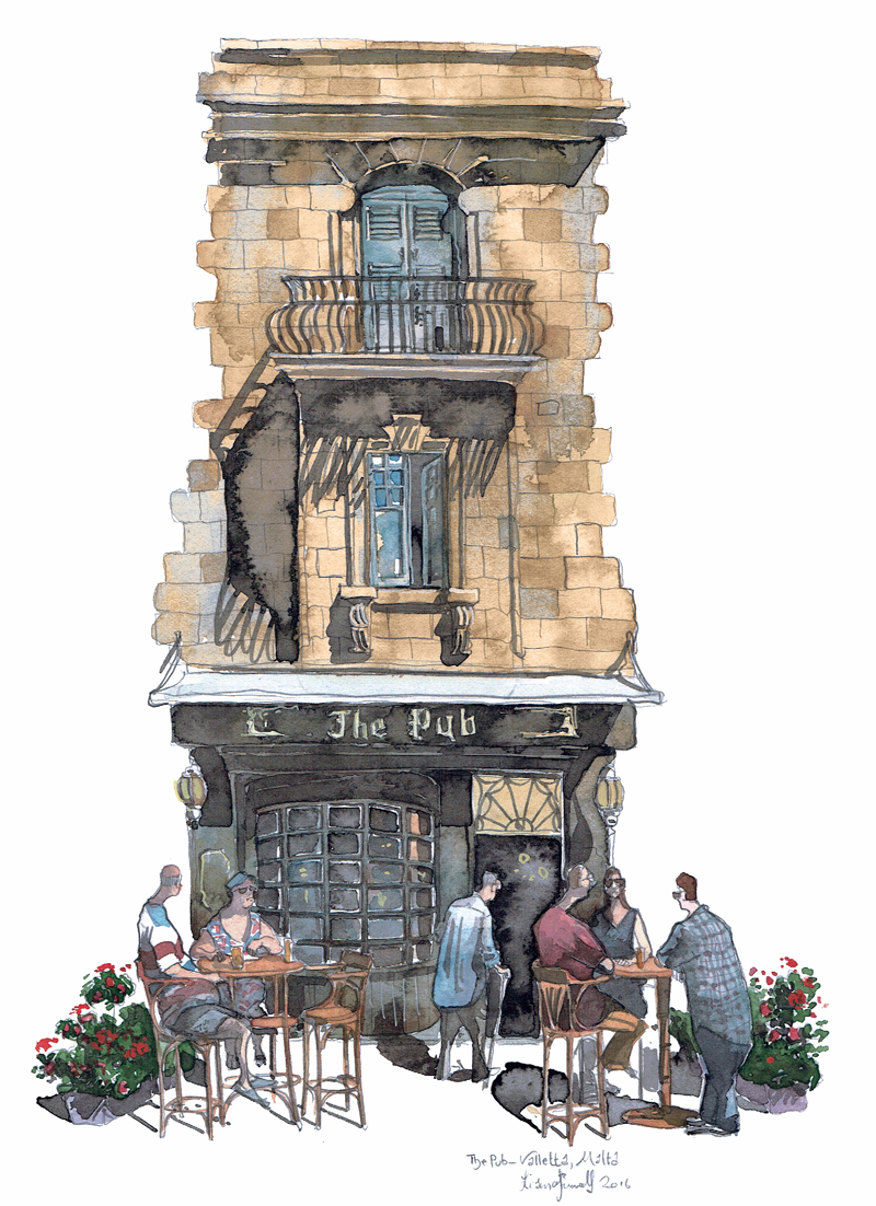 A painting of The pub in Valletta malta