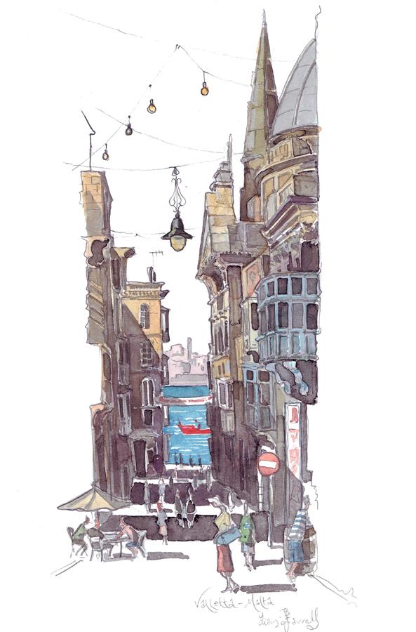 Valletta Malta Road painting