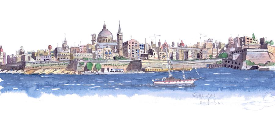Valletta Malta from Sliema painting