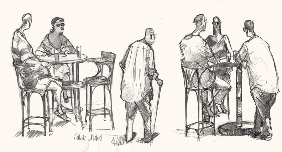 A drawing of Tourists in Malta