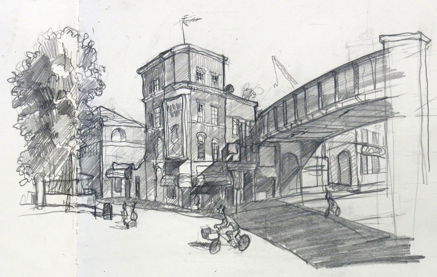A drawing of Wateloo Road London