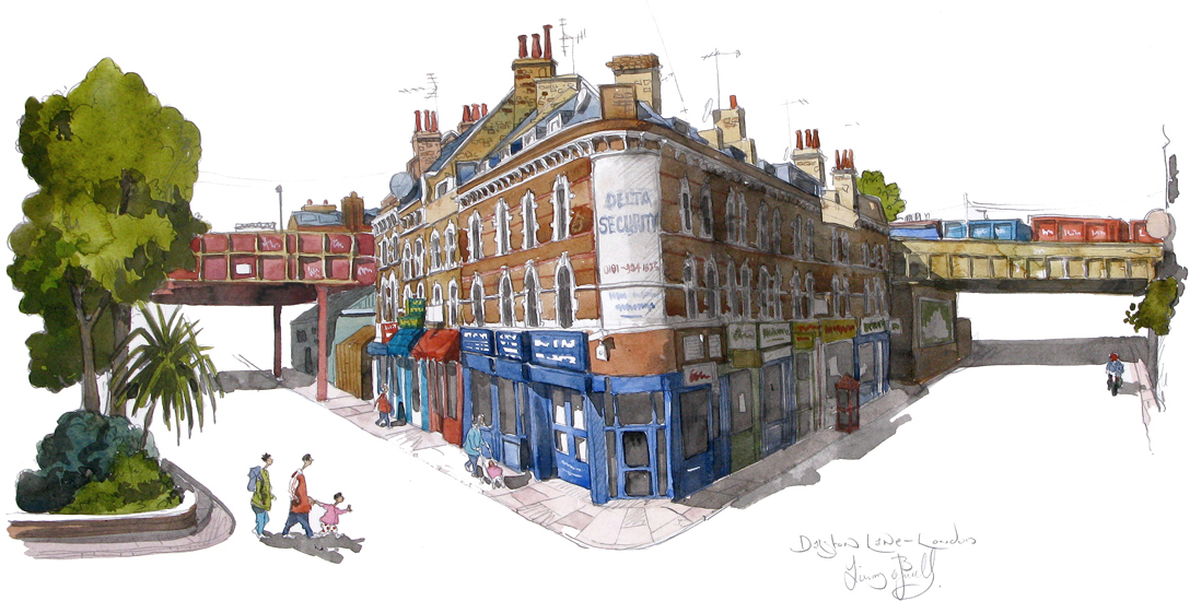 A painting of Dalston Lane London