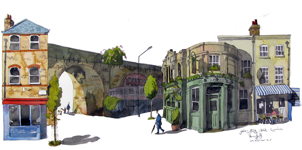 A painting of Great Suffolk Street Southwark London