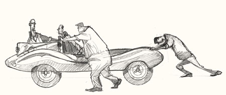 Drawing of cars at Goodwood Revival