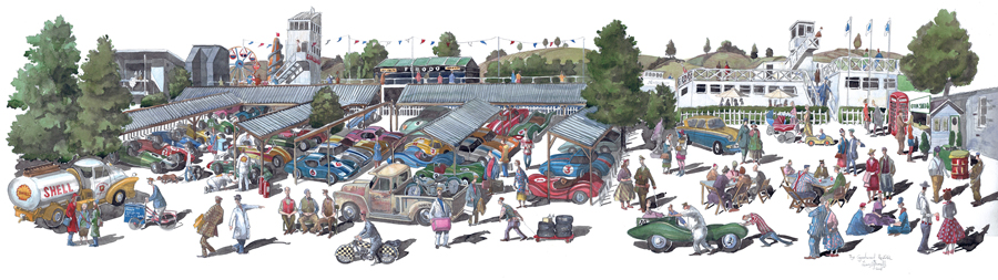 A painting of Goodwood Revival festival
