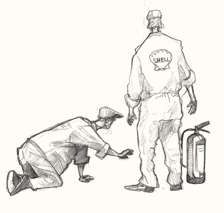 Drawing of mechanics at Goodwood Revival