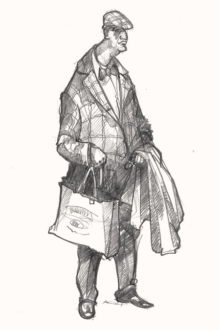 Drawing of old man at Goodwood Revival
