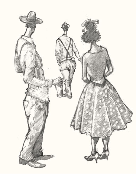 Drawing of trendies at Goodwood Revival
