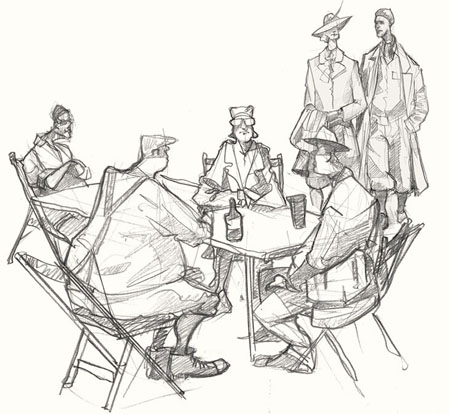 Drawing of drinkers at Goodwood Revival