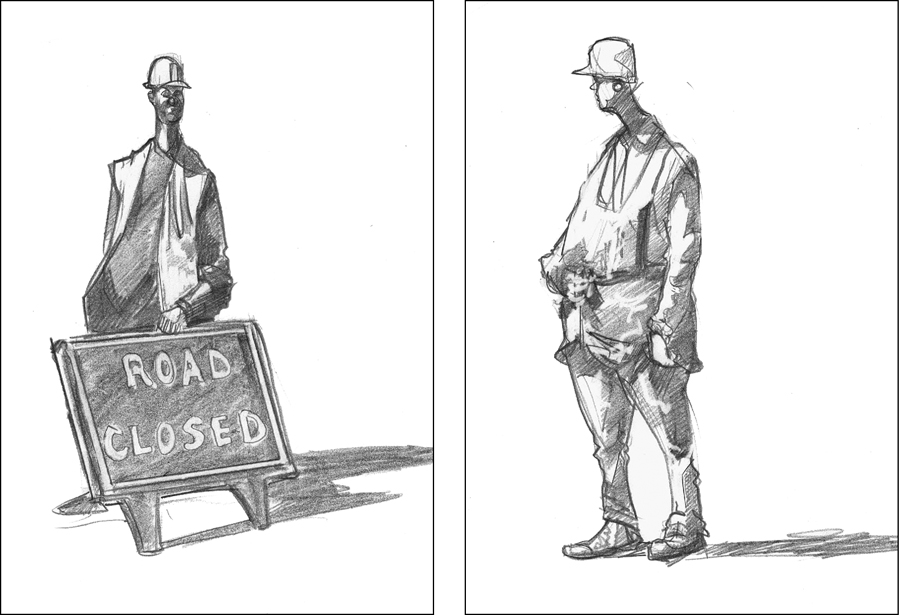 A drawing of builders in London