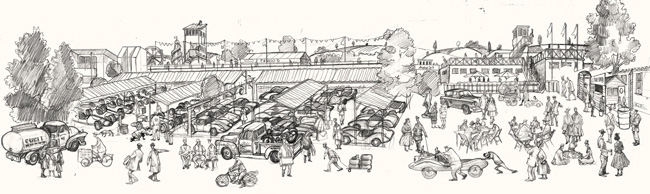 drawing of Goodwood Revival