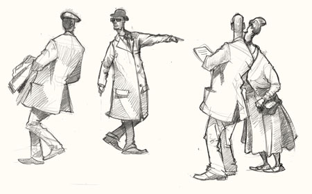 Drawing of visitors at Goodwood Revival